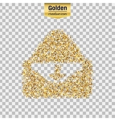 Gold glitter icon of envelope isolated on vector