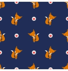 Graphically foxes in cartoon style pattern vector