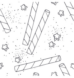 Handdrawn outline seamless pattern cocktail straws vector