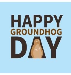 Happy groundhog daylogo icon cute happy marmot vector