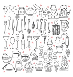 I love cooking Kitchen utensils collection vector image vector image