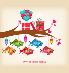 mid autumn festival day greeting card with gifts vector image vector image
