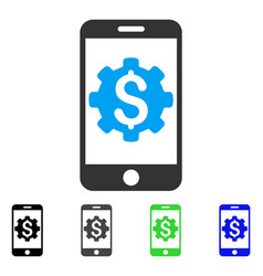 Mobile bank setup flat icon vector