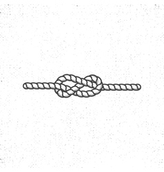 Nautical rope knot symbol on vintage roughen style vector