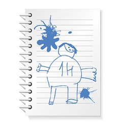 Notepad with children drawing vector image vector image