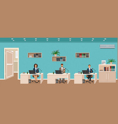 Office room interior with three workplaces vector