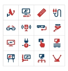 Set color icons of television vector