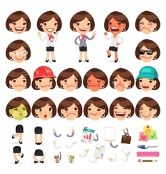 Set of Cartoon Female Manager Character vector image vector image