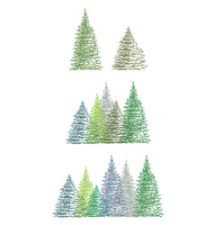 set of colorful hand drawing christmas tree vector image vector image