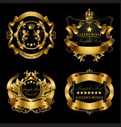 Set of golden royal stickers or emblems vector