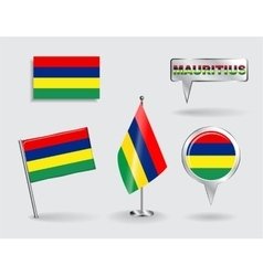 Set of mauritius pin icon and map pointer flags vector