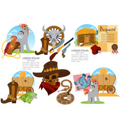 Set of of on the theme of the wild west clothing vector