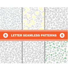 set of seamless pattern with mail envelopes vector image