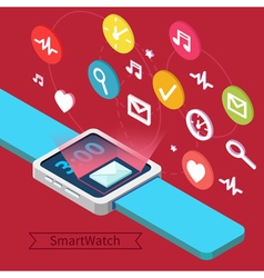 Smart Watch Technology Concept with Icons vector image vector image