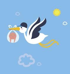 Stork bird with babyboy vector