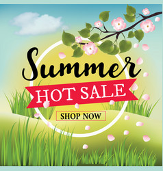 Summer hot sale banner with summer nature vector