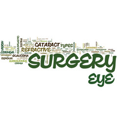 The different types of eye sugery text background vector