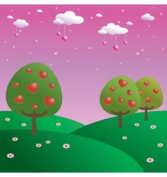trees of hearts vector image vector image