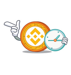 With clock binance coin character catoon vector
