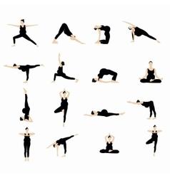 Yoga postures silhouette set vector