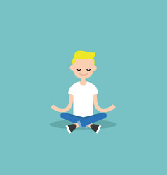 young blond boy meditating with closed eyes in vector image