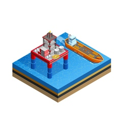 Oil industry offshore platform isometric image vector