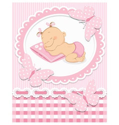 Sleeping baby girl vector