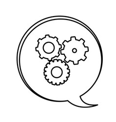 figure bubbles with gears symbol icon vector image