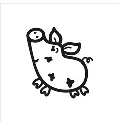 Pig icon in simple monochrome style vector