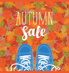 Autumn sale banner with the inscription and shoes vector