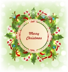 Merry christmas card with traditional decoration vector