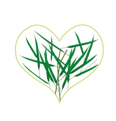 Fresh green grass in a heart shape vector