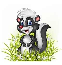 Cartoon skunk on grass background vector