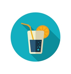 Cocktail flat icon summer vacation vector