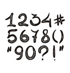 Alphabet hand drawn digits vector