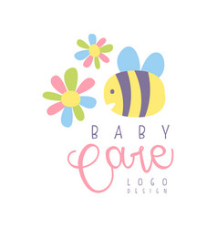 Baby care logo label for kids club baby or toys vector