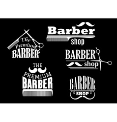 Banners signs and pointers for barber shop vector image vector image