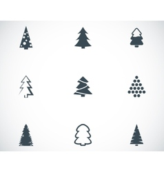 black christmas tree icons set vector image
