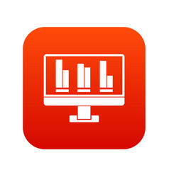 business graph at computer screen icon digital red vector image