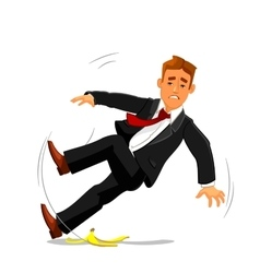 Businessman slips on banana peel and falls vector