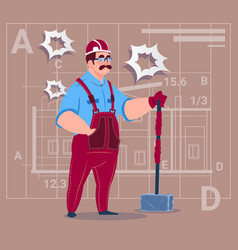 Cartoon builder holding big hammer construction vector