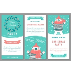 Christmas party invitations in cartoon style vector image