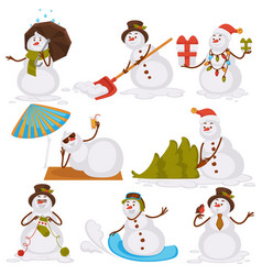 Christmas snowman santa cartoon character icons vector