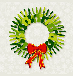Diversity green hands Christmas wreath vector image vector image