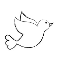 dove drawing isolated icon vector image vector image