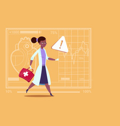 emergency female doctor african american run with vector image vector image