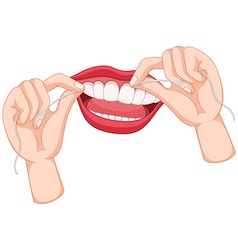 Flossing teeth on white background vector