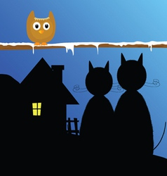 funny animal with cat and house vector image