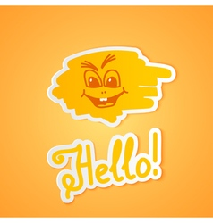 Hello on orange paper vector image vector image