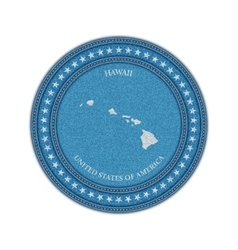 Label with map of hawaii denim style vector